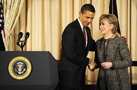 """הילרי קלינטון שר החוץ של ארה""""ב  ברק אובמה נשיא ארה""""ב, צילום: בלומברג"""