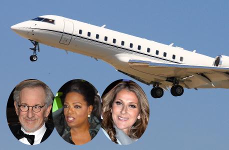 סלין דיון, אופרה ווינפרי וסטיבן שפילברג, על רקע מטוס מהדגם שבבעלותם, צילום: ויקיפדיה