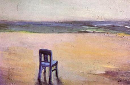 כיסא בחוף הים שממתין לבעליו. ציור שמן של אהובה שולמן