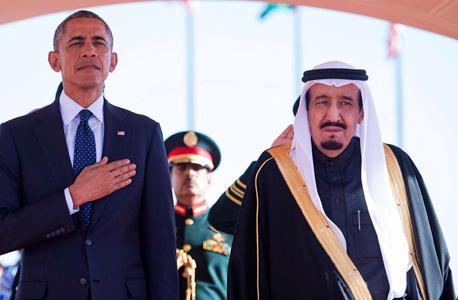 """המלך סלמן עם נשיא ארה""""ב אובמה, צילום: אי פי איי"""