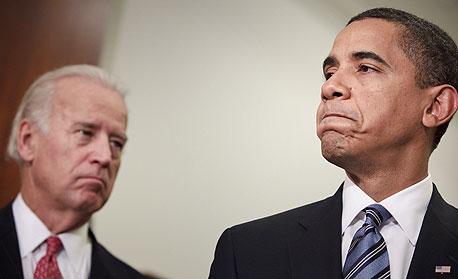 """ברק אובמה נשיא ארה""""ב סגן הנשיא ג'ו ביידן, צילום: בלומברג"""