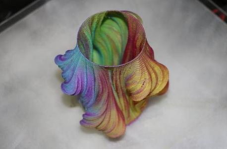 דגם שהודפס במדפסת החדשה, שמדגים את שילובי הצבעים