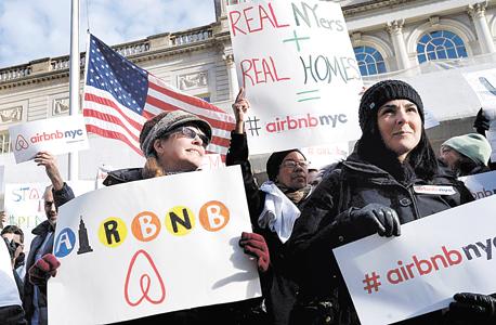 הפגנה נגד Airbnb בניו יורק, צילום: אי פי איי