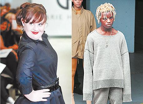 מימין: דוגמן/ית בתצוגה של קניה ווסט ודוגמנית עם תסמונת דאון בתצוגה של קארי האמר, צילום: איי אף פי