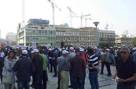 עובדים  מ ה דרום עובדי כיל מפגינים מול מטה כיל ב תל אביב הפגנות, צילום: באדיבות דוברות ההסתדרות