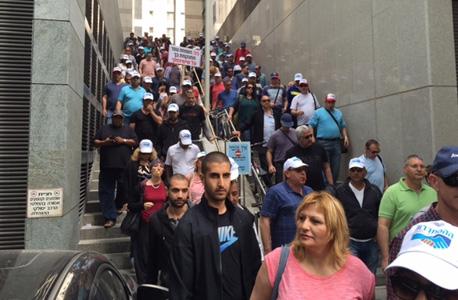עובדי כיל מפגינים ב רחוב הארבעה ב תל אביב,  צילום: באדיבות דוברות ההסתדרות