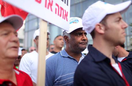 הפגנת עובדי כיל בתל אביב, צילום: עמית שעל