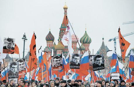 """אירוע זיכרון ומחאה שהתקיים במוסקבה בתחילת החודש, בעקבות רצח נמצוב. """"פוטין תמיד פוגע באדם עם הפרופיל הכי גבוה בכל תחום"""""""