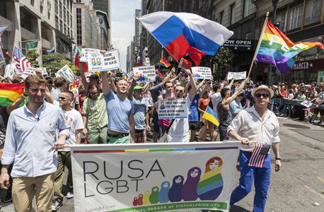 מצעד מחאה בניו יורק נגד רדיפת ההומאים והלסביות ברוסיה, צילום: שאטרסטוק