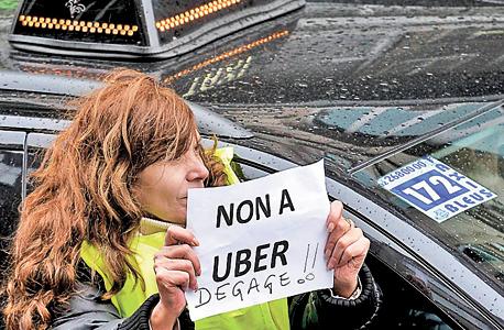 הפגנה נגד אובר בריסל, צילום: איי אף פי