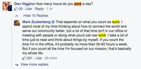 מארק צוקרברג פייסבוק שעות עבודה, צילום מסך: פייסבוק