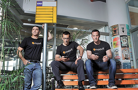 Moovit co-founders Roy Bick, Yaron Evron and Nir Erez (left). Photo: Amit Sha'al