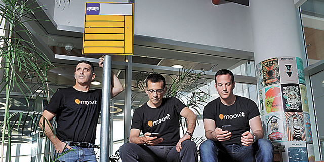 Moovit co-founders Roy Bick, Yaron Evron and Nir Erez (left). Photo: Amit Sha