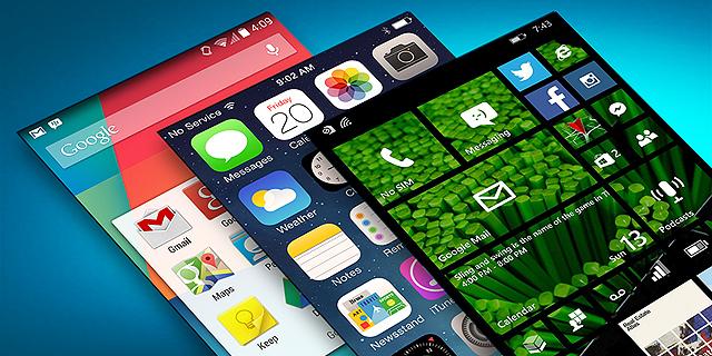 מימין: ווינדוס פון, iOS ואנדרואיד