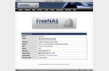 המסך הראשי של FreeNAS