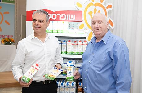 מסיבת עיתונאים שופרסל מימין איציק אברכהן ו אורי קילשטיין, צילום: אוראל כהן