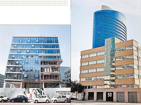 """משרדים להמונים, פרויקטים בהם פועלים משקיעים קטנים. מימין: מגדל WE, מנחם בגין, ת""""א. משמאל: פרויקט CU, ראול ולנברג, רמת החייל, ת""""א"""