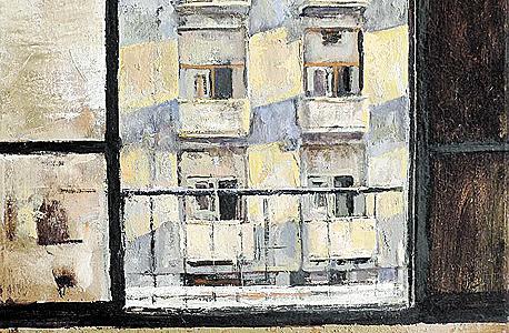 ציור של הנוף הנשקף מהחלון. עבודה של האמן רועי שפירא, שגר עד לא מכבר בקומה מתחת