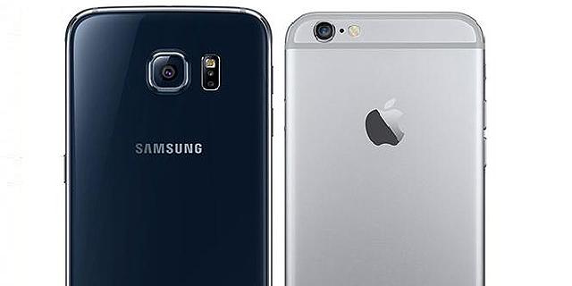 מימין: אייפון 6, גלקסי S6