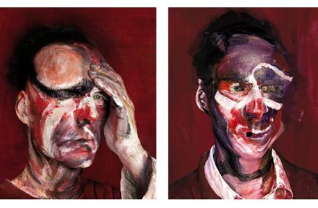 """העבודה """"בעקבות שלושה מתווים לדיוקן לוסיאן פרויד 1965"""" של מישל פלטניק. נוטע אנשים חיים"""