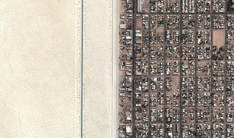 """גבול ארה""""ב - מקסיקו, צילום: Google Maps"""