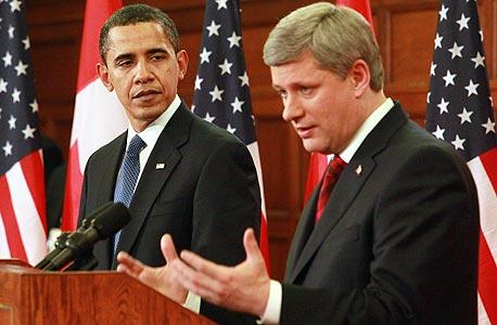 ברק אובמה ראש ממשלת קנדה סטפן הרפר Stephen Harper, צילום: בלומברג