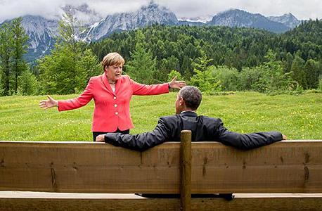 """פסגת ה-G7 נשיא ארה""""ב ברק אובמה ו קנצלרית גרמניה אנג'לה מרקל בוואריה גרמניה, צילום: רויטרס"""
