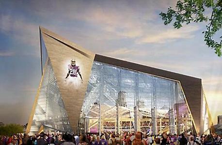 הדמיית האצטדיון במינסוטה. האצטדיון, שצפוי להיפתח בקיץ הבא לפני עונת 2016, נבנה בעלות של 1.078 מיליארד דולר, כשהוויקינגס אחראים ל-566 מיליון דולר מכך, ושאר הכספים מגיעים ממשלמי המסים בעיר ובמדינה. סופרבול 2018 מתוכנן להתקיים במקום.