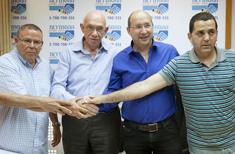 חתימת הסכם ועד עובדי מגה אייל אלי אבי ניסנקורן אביגדור קפלן ארנון בר דוד, צילום: אוראל כהן