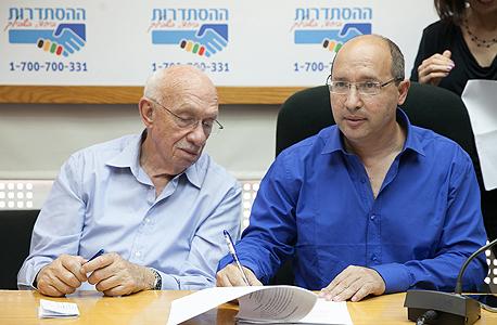 חתימת הסכם ועד עובדי מגה אבי ניסנקורן אביגדור קפלן , צילום: אוראל כהן
