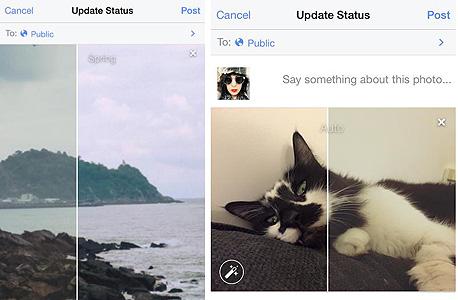 אפליקציית פייסבוק עריכת תמונות פילטרים חתול 2