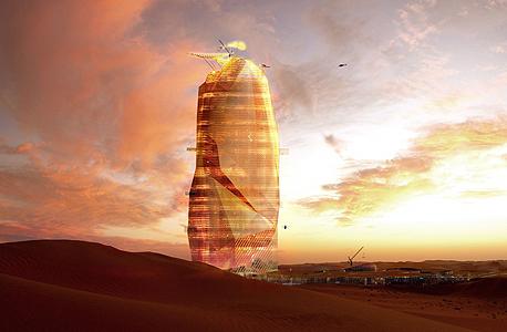 סהרה עיר מגדל עיר החול בניין מגדל מדבר עיר אנכית, צילום: OXO