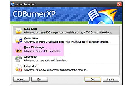 צריבת תקליטור מקובץ iso באמצעות CDBurnerXP