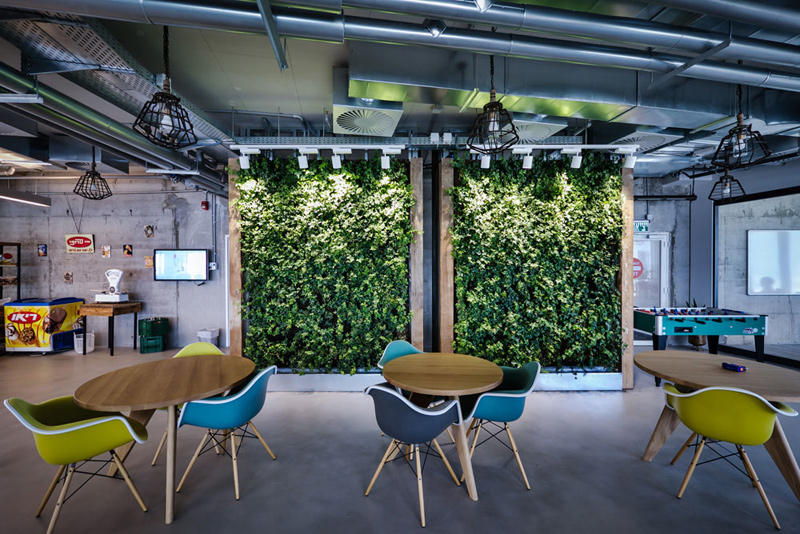 קיר ירוק של צמחייה אמיתית מכניס נגיעה של טבע לאווירית העבודה