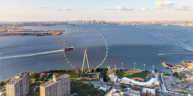 הגלגל הענק המתוכנן בניו יורק. נוף פנורמי של העיר, צילום: perkins eastman