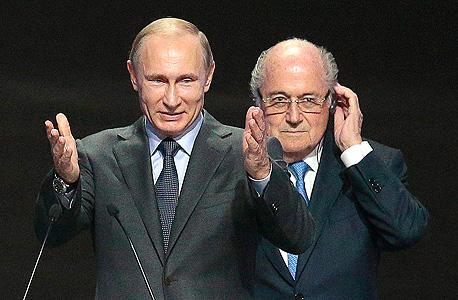 """ספ בלאטר ולדימיר פוטין מונדיאל 2018 רוסיה 2018 פיפ""""א, צילום: אי פי איי"""