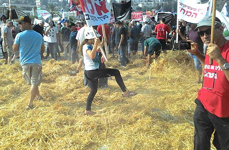 הפגנת החקלאים הבוקר, צילום: תנועת המושבים