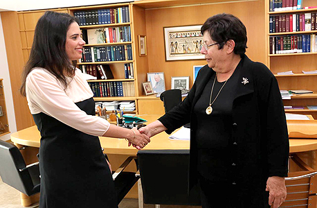 מימין: נשיאת בית המשפט העליון מרים נאור ו שרת המשפטים איילת שקד, צילום: הדוברות רשות השופטת