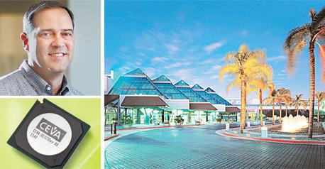 """אינפו מימין בכיוון השעון: מרכז הכנסים בסנטה קלרה, שבב של סיוה והמנכ""""ל החדש של סיסקו צ'אק רובינס"""