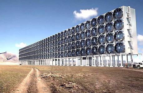 """מסנן הפחמן הדו־חמצני של דיוויד קית, שייכנס לשימוש מסחרי ב־2017 וימחזר את הזיהום התעשייתי עצמו. קית: """"כל הפתרונות הם חלקיים. לא יהיו ניצחונות קלים"""", צילום: יוטיוב"""
