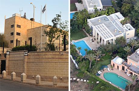 """מימין: הווילה בקיסריה (עם הבריכה המרובעת) ומעון רה""""מ בירושלים, צילום: שאול גולן, גיא אסיאג"""