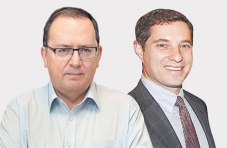 """מימין: מנהל נובל אנרג'י ישראל ביני זומר ומנכ""""ל חברת החשמל עופר בלוך. מסע שכנועים"""