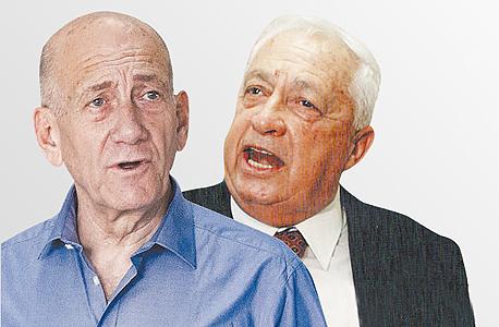 מימין אריק שרון ו אהוד אולמרט, צילום: צביקה טישלר, טל שחר