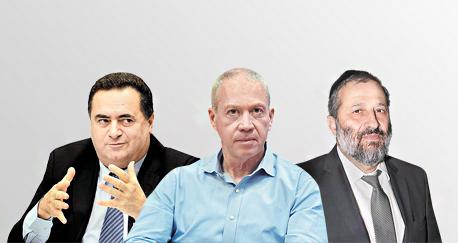 מימין אריה דרעי יואב גלנט ישראל כץ, צילום: אלכס קולומויסקי, יאיר שגיא, מיקי אלון