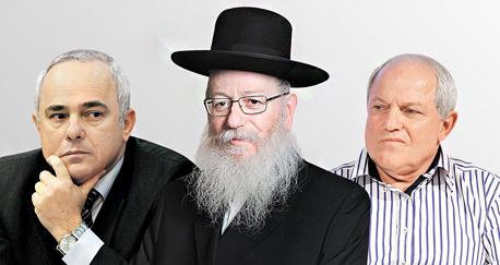 מימין חיים כץ יעקב ליצמן יובל שטייניץ, צילום: עמית שעל, עטא עוויסאת