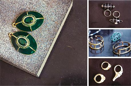 עגילים וטבעות מזהב, כסף, פולימר, יהלומים ואמרלד. מהקולקציה המסחרית יותר של לרין