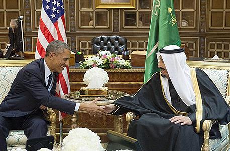 """מלך סעודיה סלמן נשיא ארה""""ב ברק אובמה פגישה וושינגטון ספטמבר 2015, צילום: איי אף פי"""