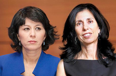 מימין דורית סלינגר מנכלית מעלות ו חדווה בר מנהלת הסיכונים הראשית ב בנק לאומי, צילום: אוראל כהן