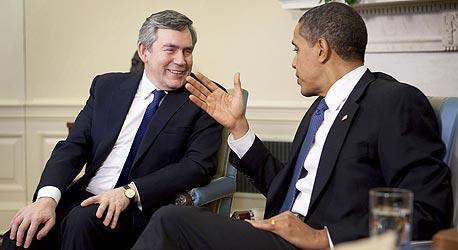 """גורדון בראון ראש ממשלת בריטניה ו ברק אובמה נשיא ארה""""ב, צילום: בלומברג"""