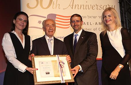 30 שנים להסכם הסחר החופשי בין ישראל לארה״ב שמעון פרס עופרה שטראוס, צילום: סיון פרג'